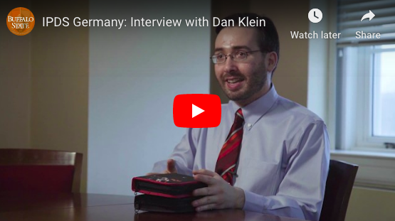 preview of YouTube video featuring student Dan Klein about his IPDS experience in Germany